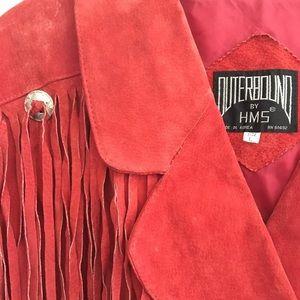 Vintage Red Fringe Suede Jacket
